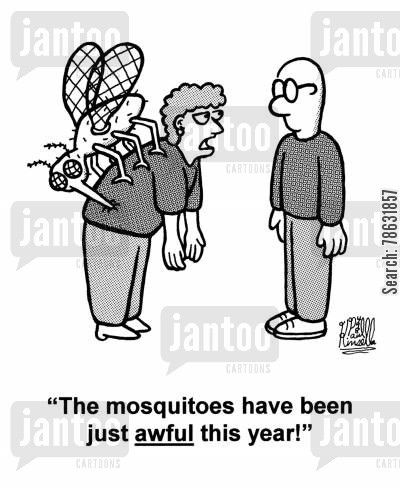 mosquito cartoon humor: 'The mosquitoes have been just awful this year!'