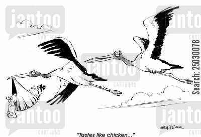 baby delivery cartoon humor: 'Tastes like chicken...'