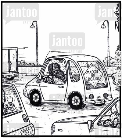 protective parents cartoon humor: Sign in the back of a fly's car reads Maggot on Board.