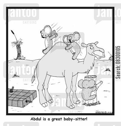 playfulness cartoon humor: Abdul is a great baby-sitter!