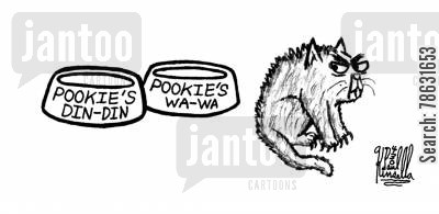 food bowl cartoon humor: Pookie's Din-Din, Pookie's Wa-Wa