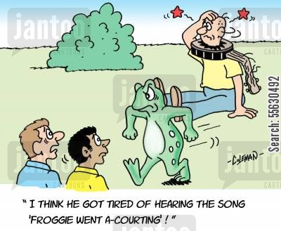 banjo player cartoon humor: I think he got tired of hearing the song Froggie went a Courting!
