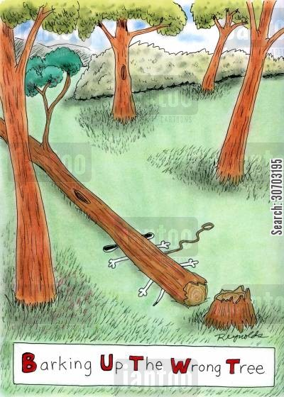 trees cartoon humor: Barking Up the Wrong Tree.