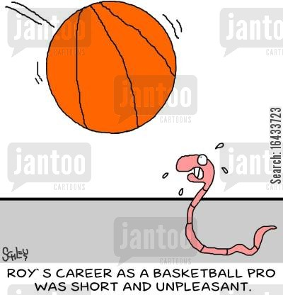 pro basketball cartoon humor: Roy's career as a basketball pro was short and unpleasant.