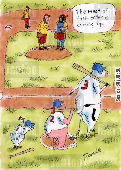 batting order cartoon humor: 'The meat of their order is coming up.'