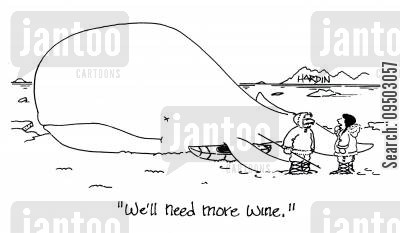 strengths cartoon humor: 'We'll need more wine.'