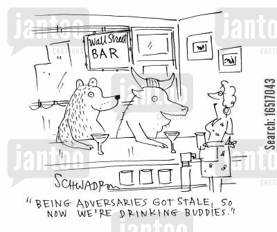 landladies cartoon humor: 'Being adversaries, got stale, so now we are drinking buddies.'