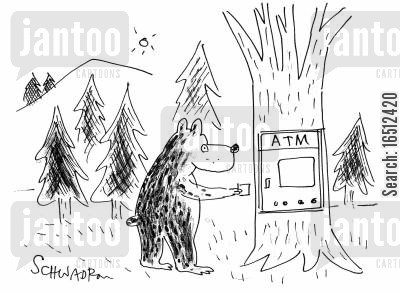 wildlife cartoon humor: Bear using an ATM machine.