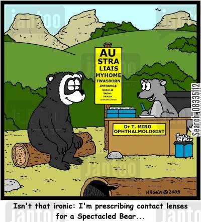 spectacled bears cartoon humor: 'Isn't that ironic: I'm prescribing contact lenses for a Spectacled Bear...'