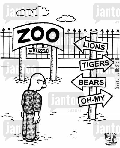 tourist attractions cartoon humor: Sign Post at the Zoo Reads:'Lions, Tigers, Bears, and Oh-My.'