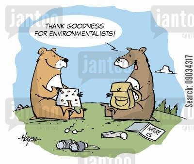 bear attack cartoon humor: 'Thank goodness for environmentalists!'