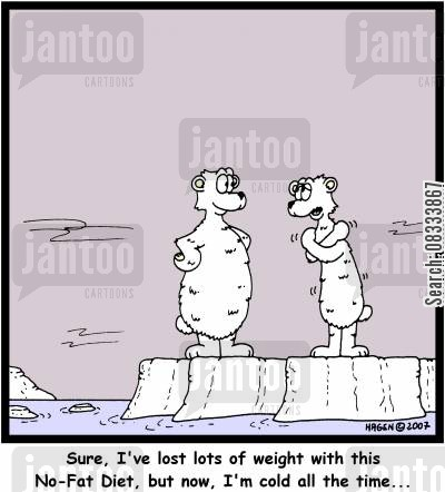 diet plans cartoon humor: 'Sure, I've lost lots of weight with this No-Fat Diet, but now, I'm cold all the time...'