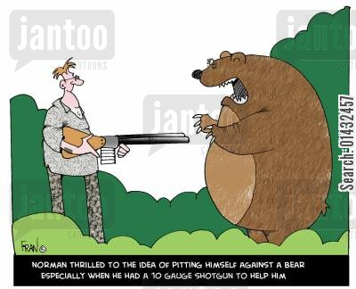 norman cartoon humor: Norman thrilled to the idea of pitting himself against a bear, especially when he had a 10 gauge shotgun to help him.