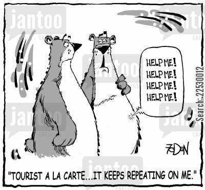 indigestion cartoon humor: 'Tourist a la carte...It keeps repeating on me.'