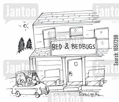 mites cartoon humor: Bed & Bedbugs.