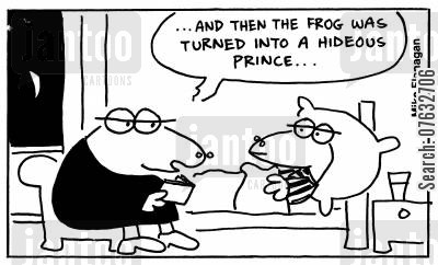 kissing frogs cartoon humor: And then the frog was turned into a hideous prince...