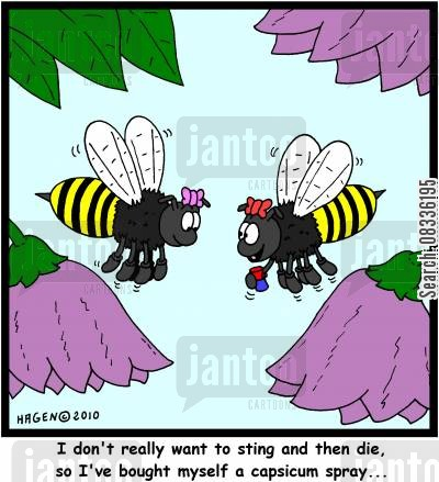 bee hives cartoon humor: 'I don't really want to sting and then die, so I've bought myself a capsicum spray...'