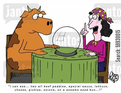 beef burger cartoon humor: 'I can see... two all beef paddies, special sauce, lettuce, cheese, pickles, onions, on a sesame seed bun...!'