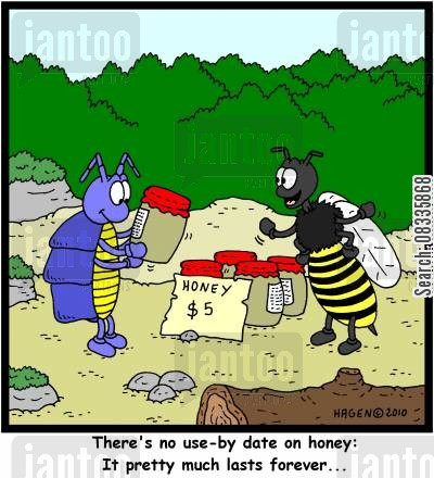 best before date cartoon humor: 'There's not use-by date on honey: It pretty much lasts forever...'