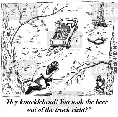 car theft cartoon humor: 'Hey knucklehead! You took the beer out of the truck right?'