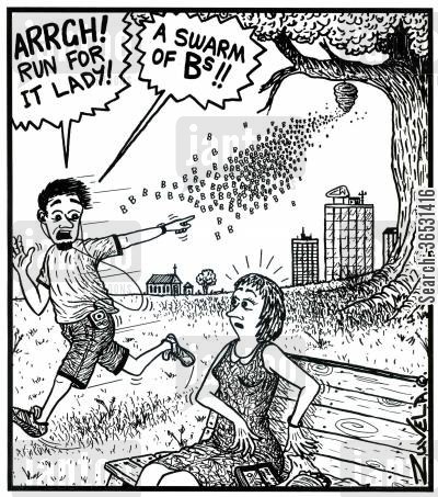 sting cartoon humor: 'ARRGH! Run for it lady!' 'A swarm of Bs!!' A guy running away from a swarm of the actual letter B