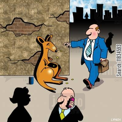 handout cartoon humor: A homeless kangaroo uses his pouch to beg.