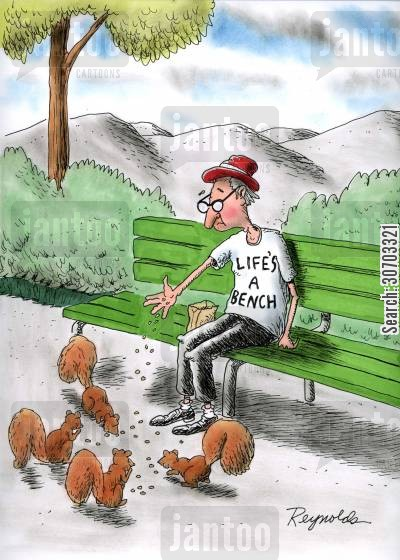 lifes a beach cartoon humor: Life's a Bench.