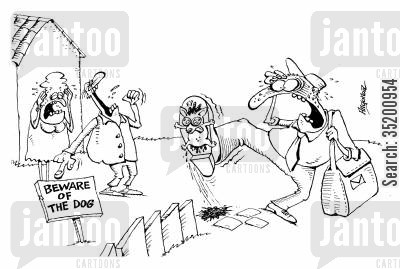 beware of the dog cartoon humor: Postman squashing a small dog.