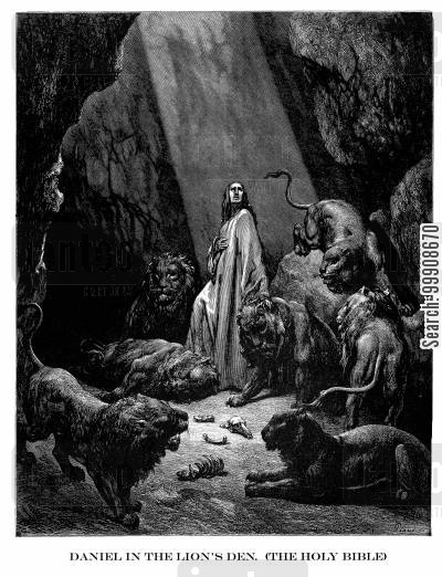 bible story cartoon humor: Daniel in the Lion's Den.