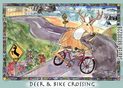 deer crossing cartoon humor: Deer & Bike Crossing.