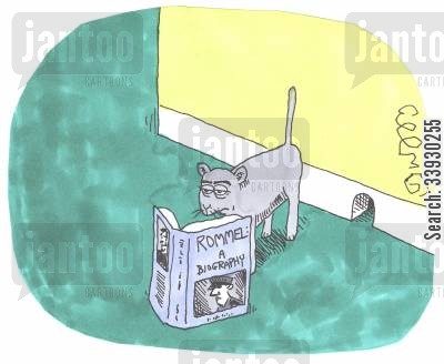 cat and mouse cartoon humor: Cat reading Rommel biography.