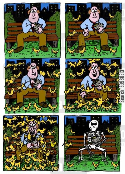 park benches cartoon humor: Man feeding the birds at the park is eaten alive.