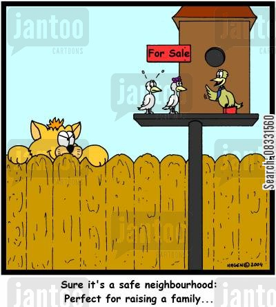 raising a family cartoon humor: 'Sure it's a safe neighbourhood: Perfect for raising a family...'