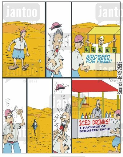 bird seed cartoon humor: What has really happened in the desert...