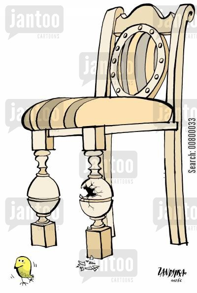 antique furniture cartoon humor: Egg in a chair, chick hatching.