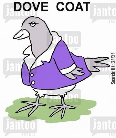 dove owners cartoon humor: Dove Coat