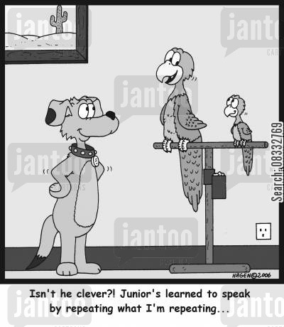 proud dad cartoon humor: 'Isn't he clever?! Junior's learned to speak by repeating what I'm repeating...'