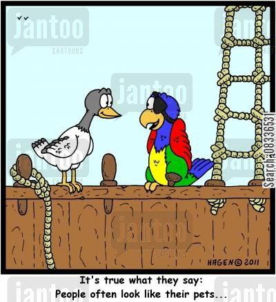 peg legs cartoon humor: 'It's true what they say: People often look like their pets...'