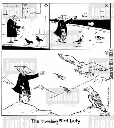bread crumbs cartoon humor: The Travelling Bird Lady.