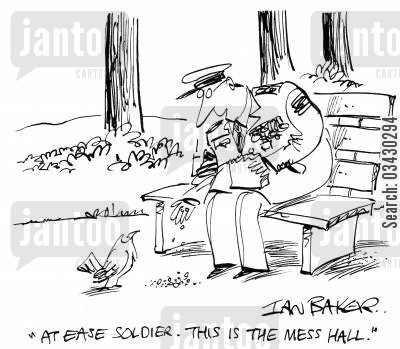 mess halls cartoon humor: 'At ease soldier. This is the mess hall.'