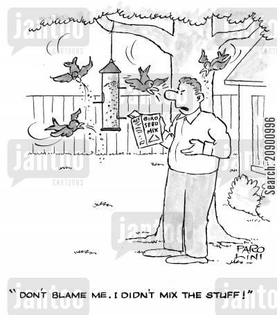 bird feeder cartoon humor: (Talking to birds) 'Don't blame me. I didn't mix the stuff!'