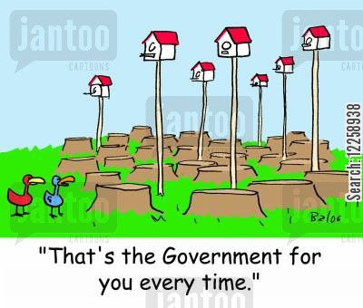 cutting down trees cartoon humor: 'That's the Government for you every time.'