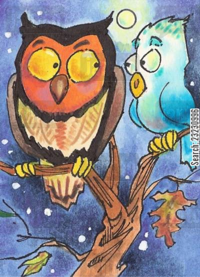 full moon cartoon humor: Two Strange Owls.