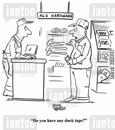 farm pets cartoon humor: 'Do you have any duck tape?'