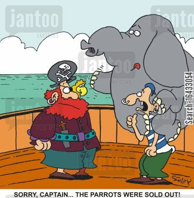 priate cartoon humor: 'Sorry, Captain... The parrots were sold out!'