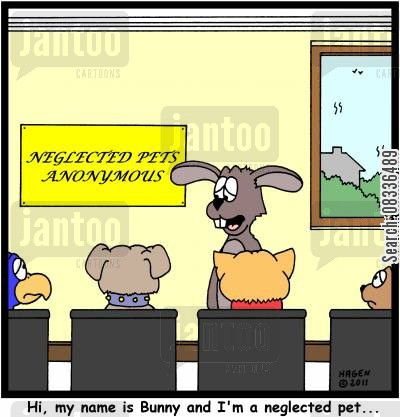group therapy cartoon humor: 'Hi, my name is Bunny and I'm a neglected pet...'