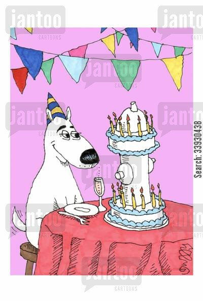 hydrants cartoon humor: Dog Birthday.