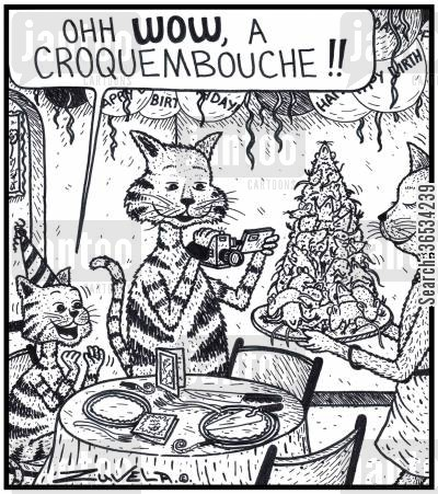 croquembouche cartoon humor: Young Cat: 'Ohh WOW, a Croquembouche!!' An excited young Cat about to receive a Croquembouche cake made of Mice for it's Birthday