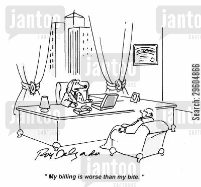 bark cartoon humor: 'My billing is worse than my bite.'