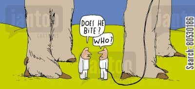 giant dog cartoon humor: 'Does he bite?'